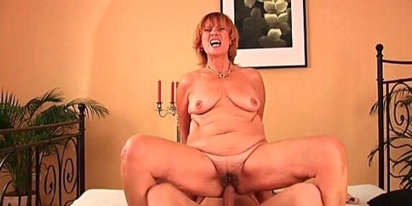 plump grandma fucks her toy boys cock with her unshaven pussy