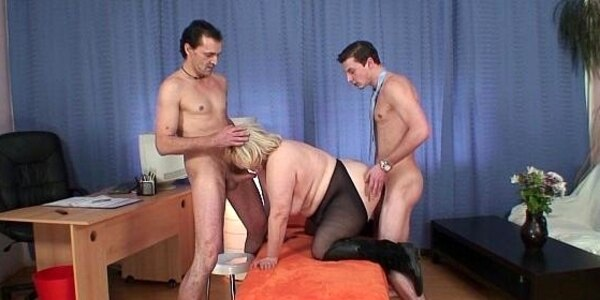 busty old granny double penetration