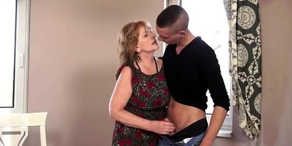 busty euro granny dicksucking younger guy