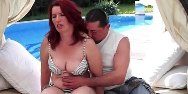 mature beauty pussyfucked by the pool