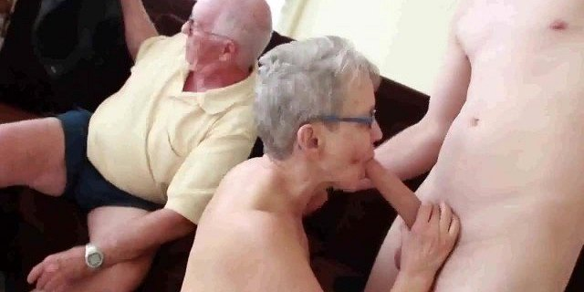 granny husband invite a young stud to fuck her