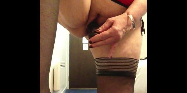 sexy granny black dildo black stockings squirting