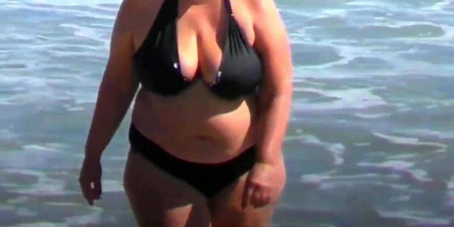 spy beach mature with a granny swimsuit bikini special