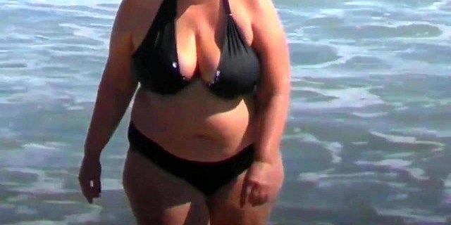 spy beach mature with a granny swimsuit bikini special