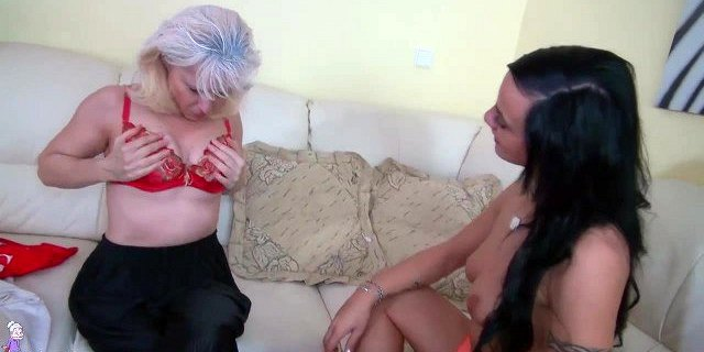 oldnanny granny and teen masturbating with toy and strapon
