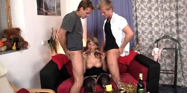 two fellows pick up and bang hot old women