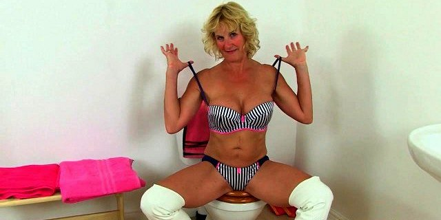 british granny molly gets naughty in bathroom