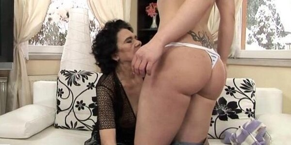 granny fucks a younger girl with strap on