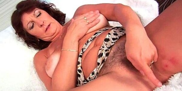granny with big tits finger fucks her hairy pussy