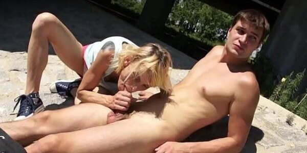 skinny old blonde bitch fucked outdoor by young stud on grandmams com