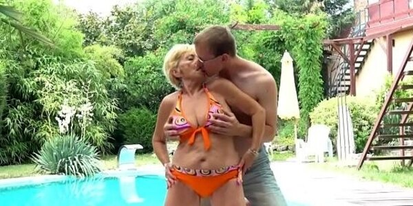 doggystyled euro grandma enjoys outdoor sex