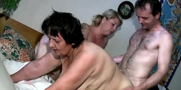 lucky stud enjoys two large women in bed